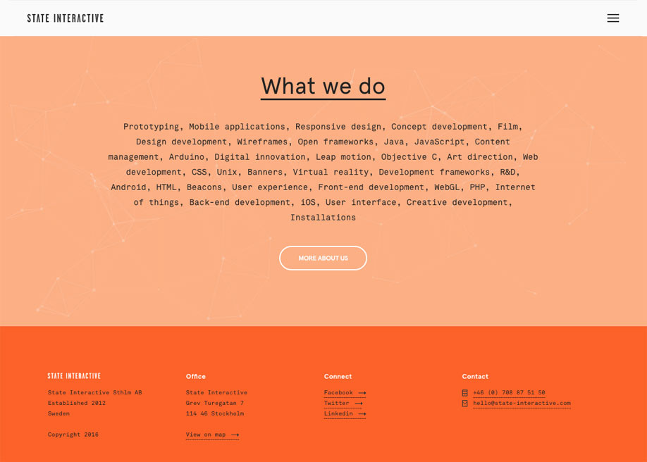 Orange footer / State Interactive