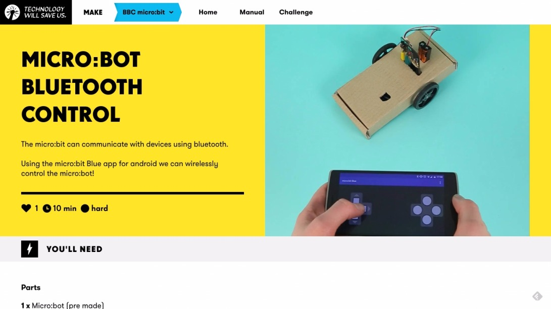 Micro:bot Bluetooth Control | Make and code activities, projects and apps to learn about technology | Technology Will Save Us