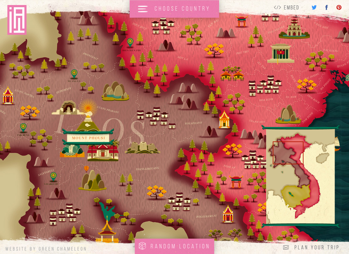 Interactive Detailed Illustrated Map
