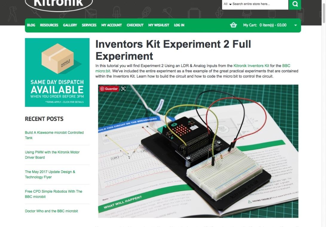 Inventors Kit Experiment 2 Full Experiment | Kitronik