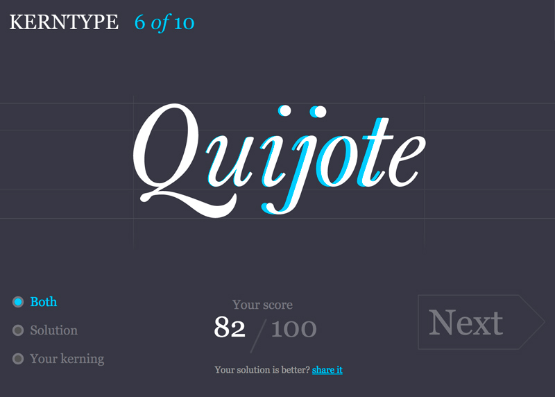 KERNTYPE - A game for Typographers