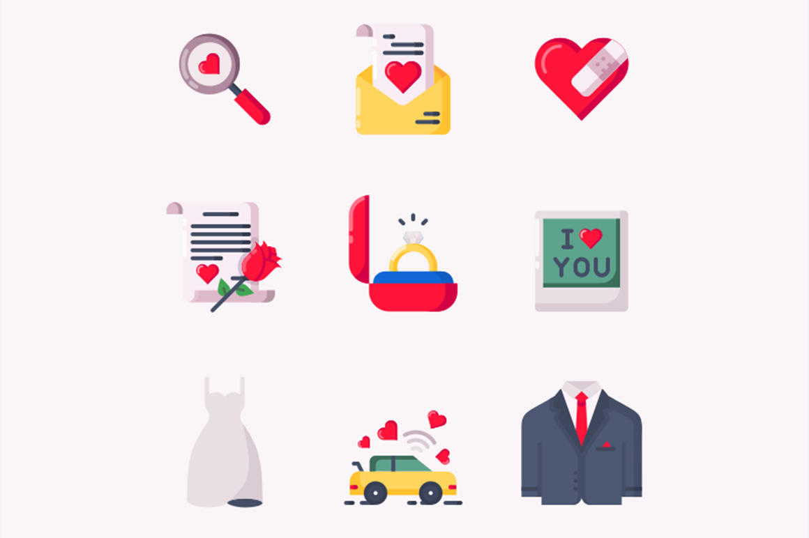 Valentines free icons set
