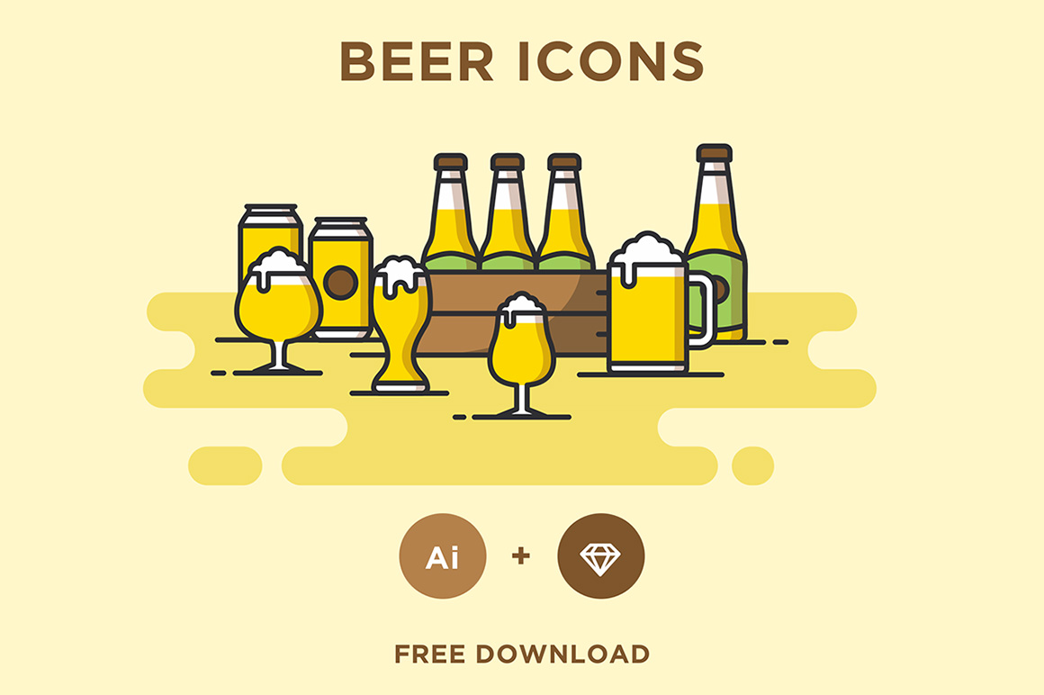 Beer free icons set