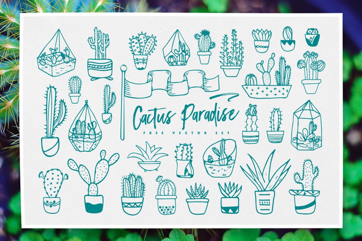 Cactus free icons set