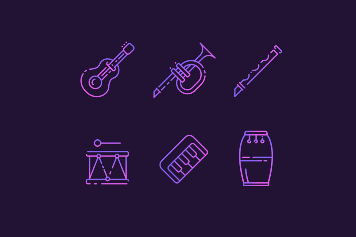 Musicial instuments free icons collection