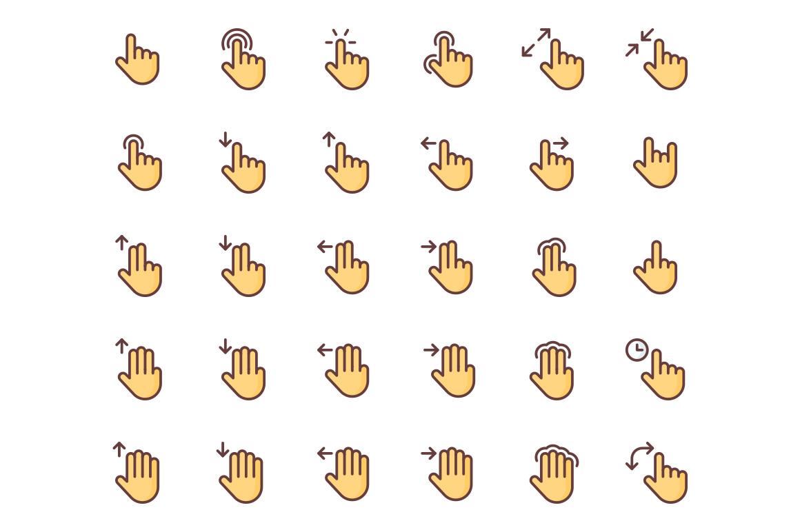 Gestures free icons set