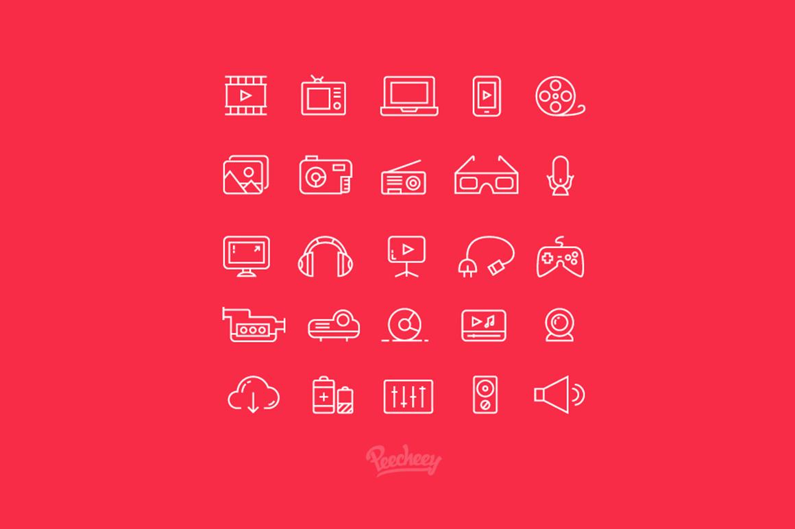 Multimedia free icons set