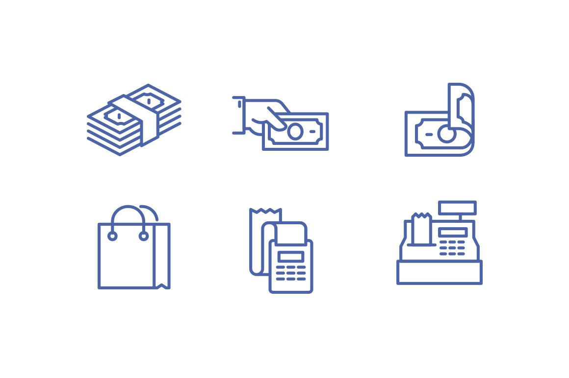 Cash free icons set