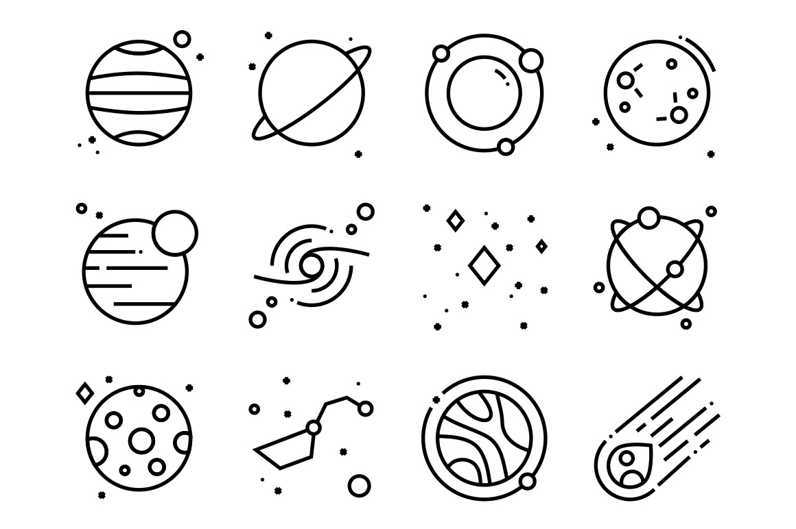 Space free icons set
