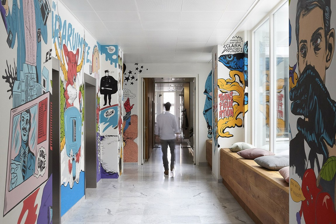 Hallway of JWT's office in Amsterdam