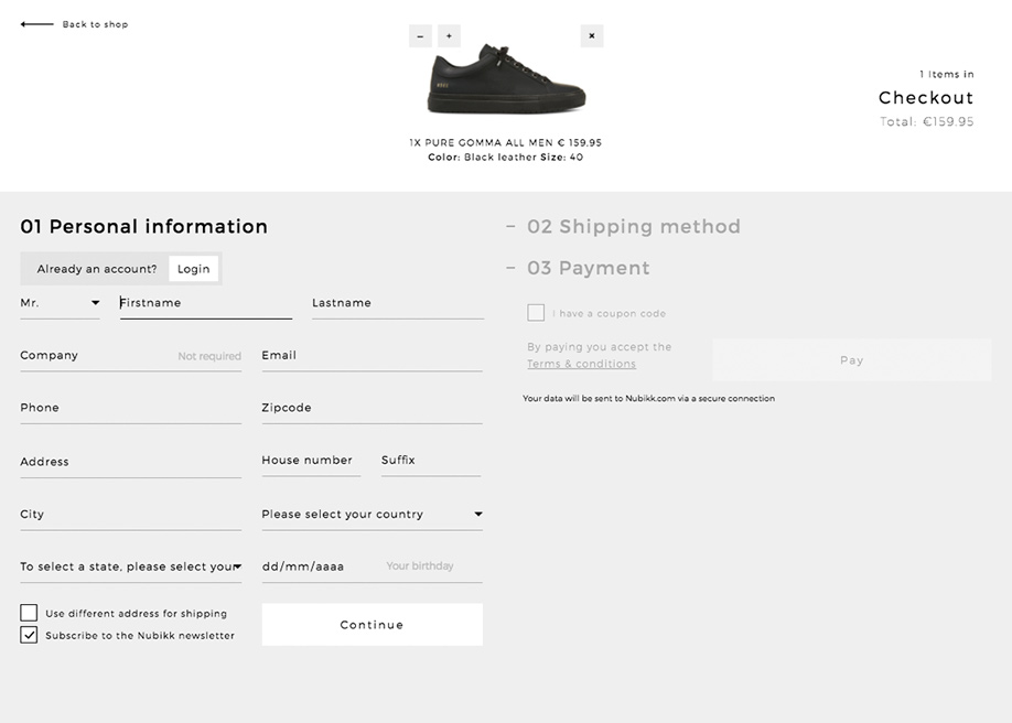 Shopping cart - Personal information
