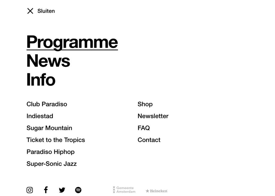 Paradiso - menu design