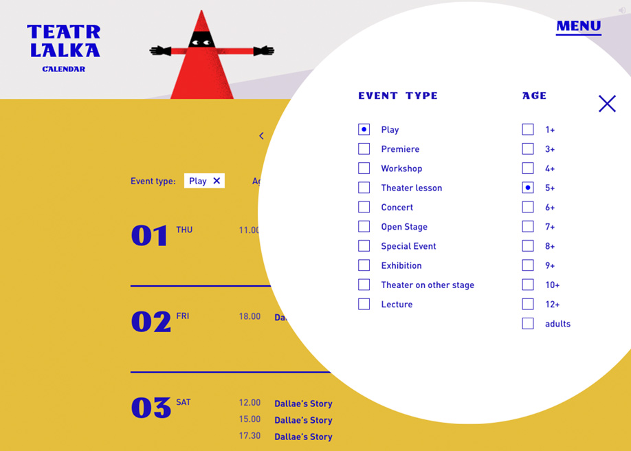 Overlay search filter calendar