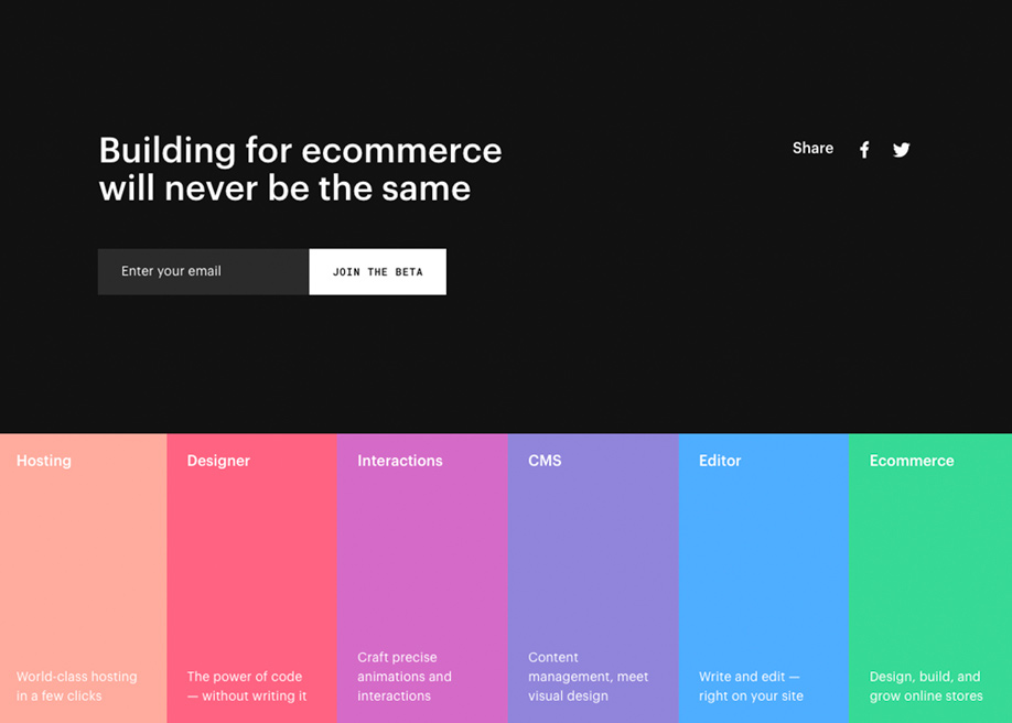 Webflow colorful footer design