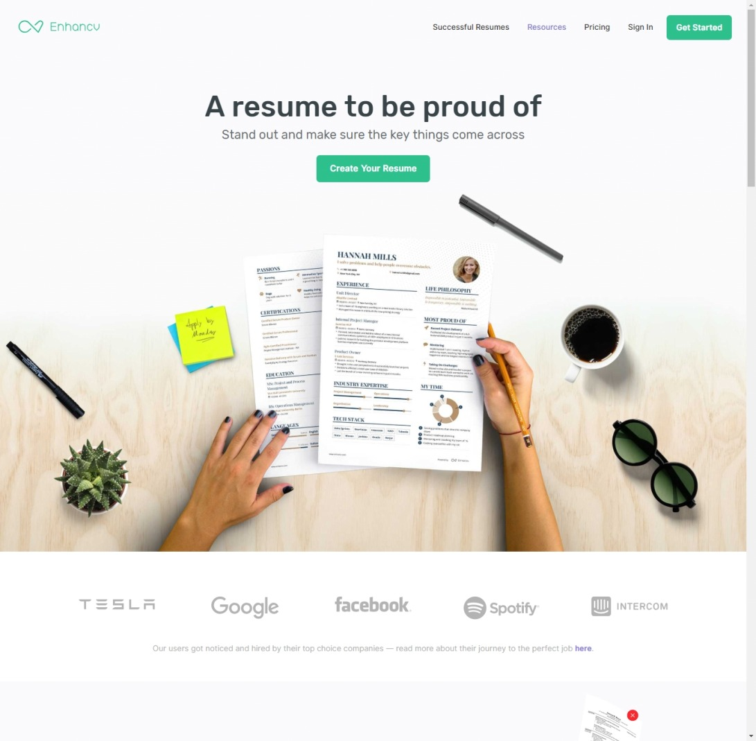 Professional CV & Resume Builder | Enhancv