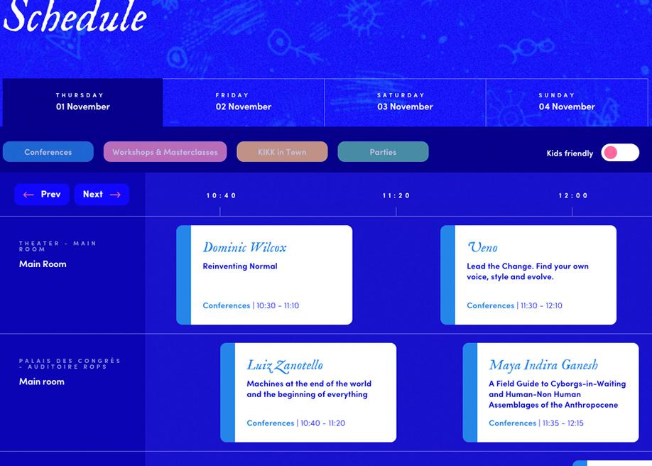 Kikk 2018 schedule design