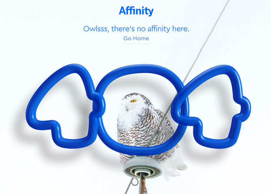 Owlsss, Affinity 404 error page