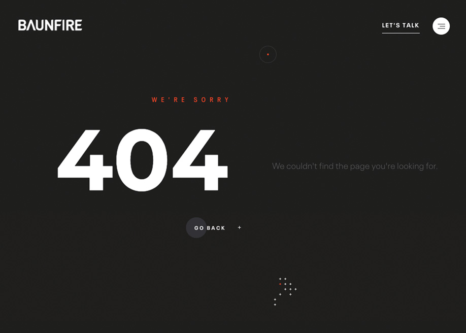 404 error page - Baunfire