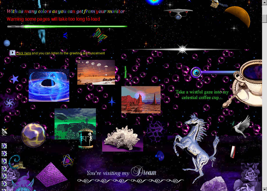 Archived GeoCities web-collage - Cameron's World