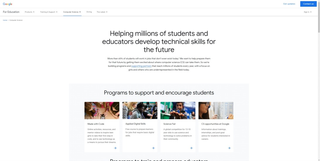Computer Science programs to support and encourage students | Google for Education