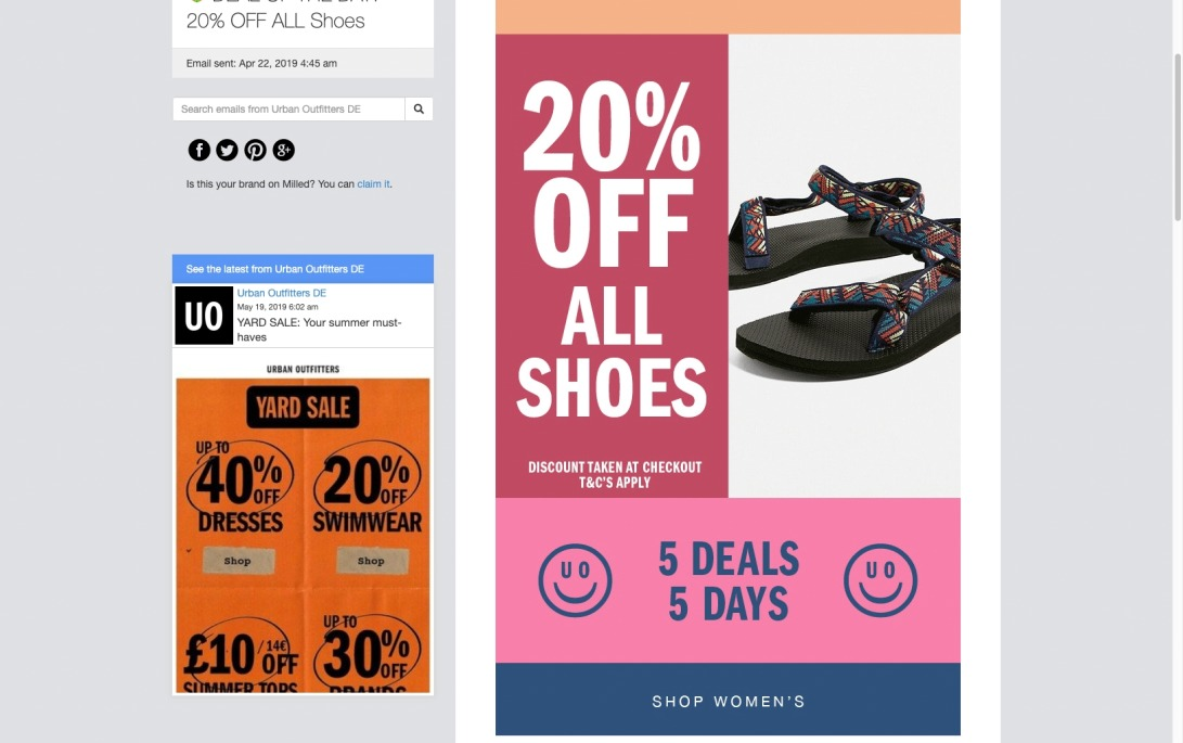 Urban Outfitters DE: 🤑 DEAL OF THE DAY: 20% OFF ALL Shoes | Milled