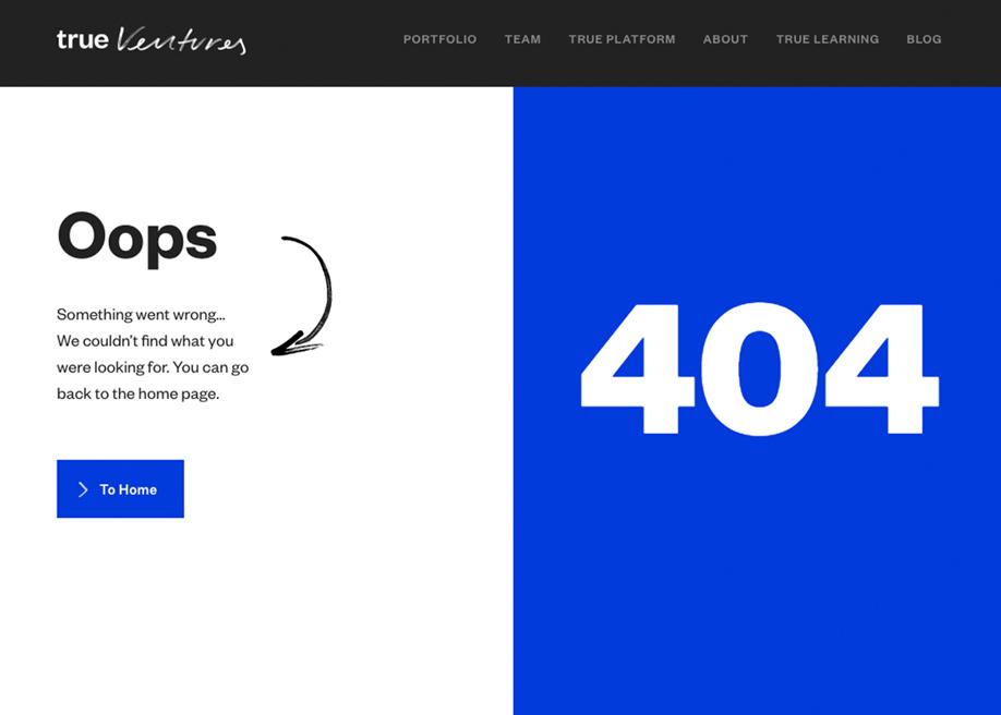 True Ventures - 404 error page