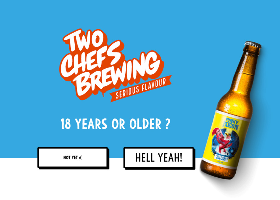 Two chefs brewing - age check in