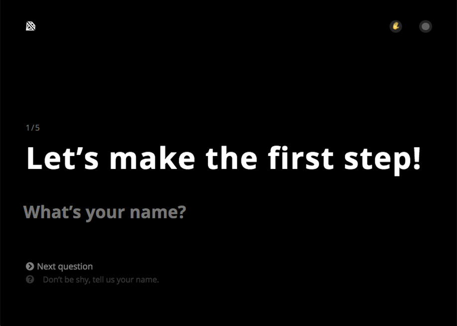 """Crescosa microcopy - """"Don't be shy, tell us your name."""""""