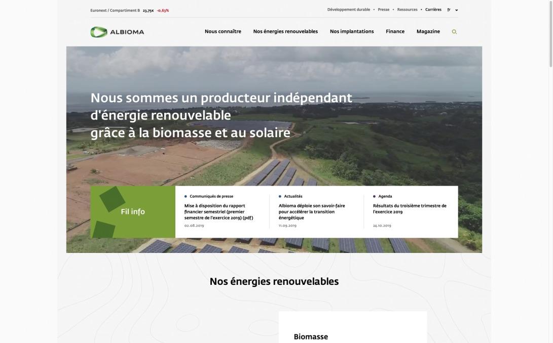 Albioma - Producteur d'énergie renouvelable indépendant, Albioma est engagé dans la transition énergétique grâce à la biomasse et au photovoltaïque.