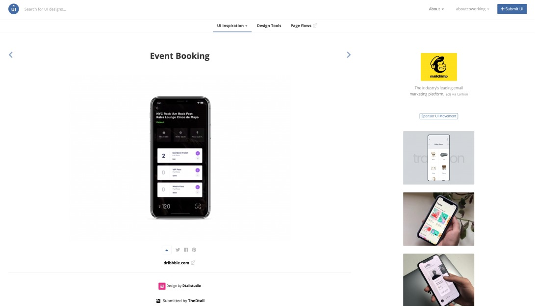 Event Booking - UI Movement