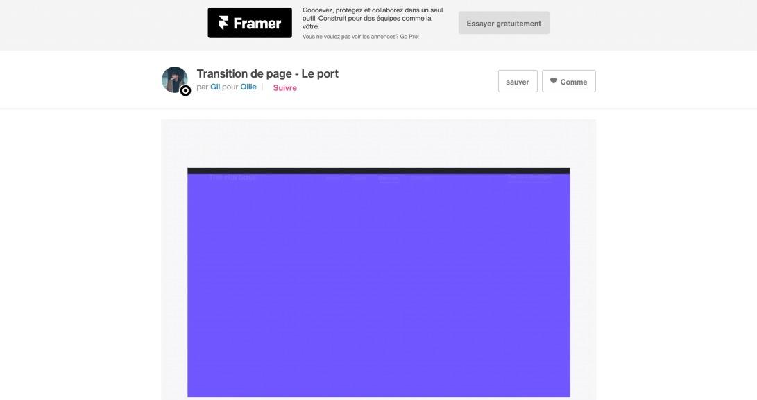 Transition de page - The Harbour de Gil pour Ollie sur Dribbble