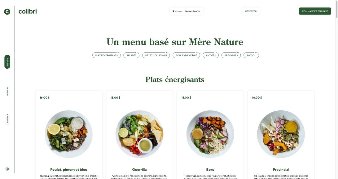 Notre menu — Restaurant Colibri