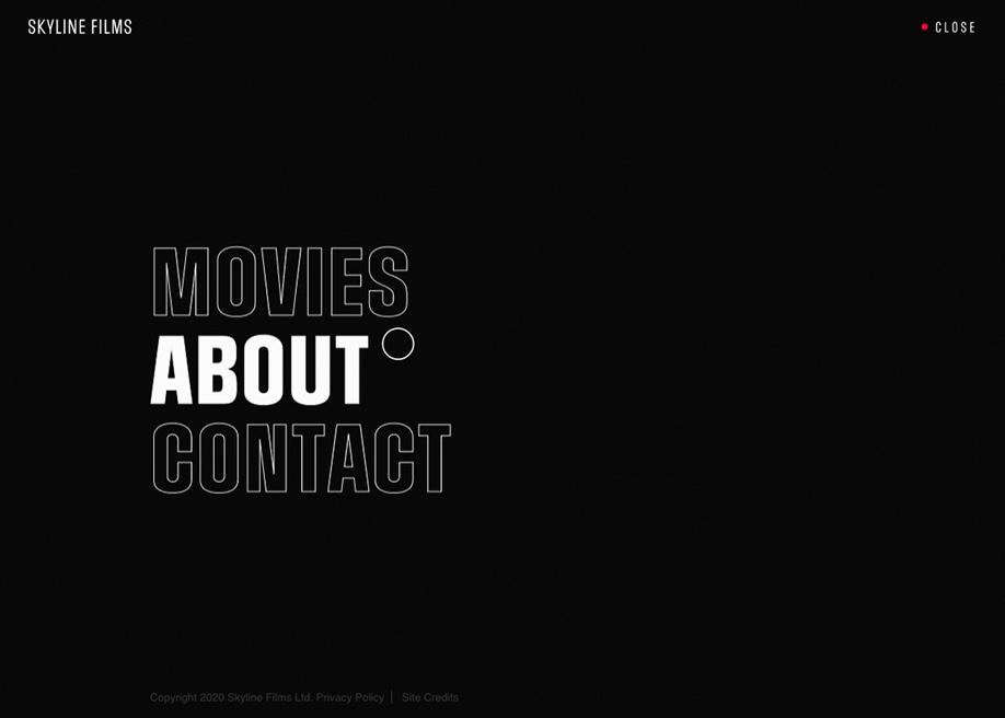 Skyline Films - overlay menu