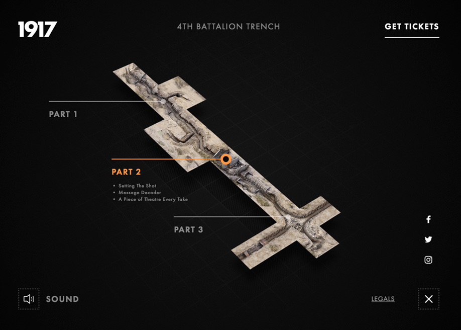 Map navigation movie landing page - 1917 into the trenches