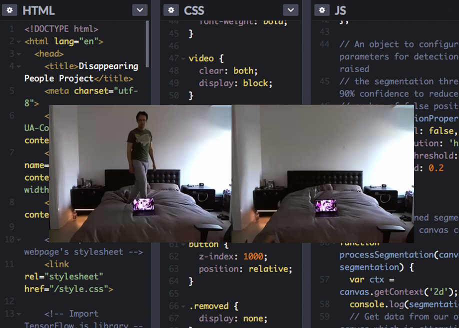 Removing people from backgrounds in real time with TensorFlow.js