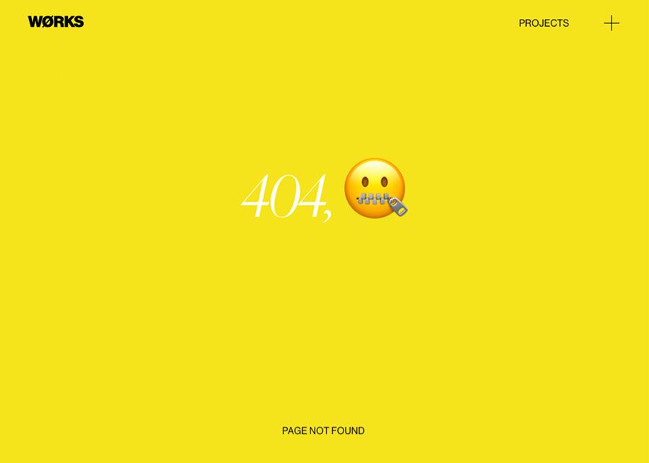 Emoji 404 error page - Works Studio