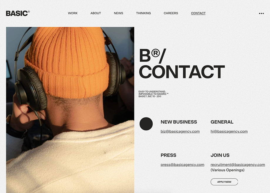 Contact page - Basic agency