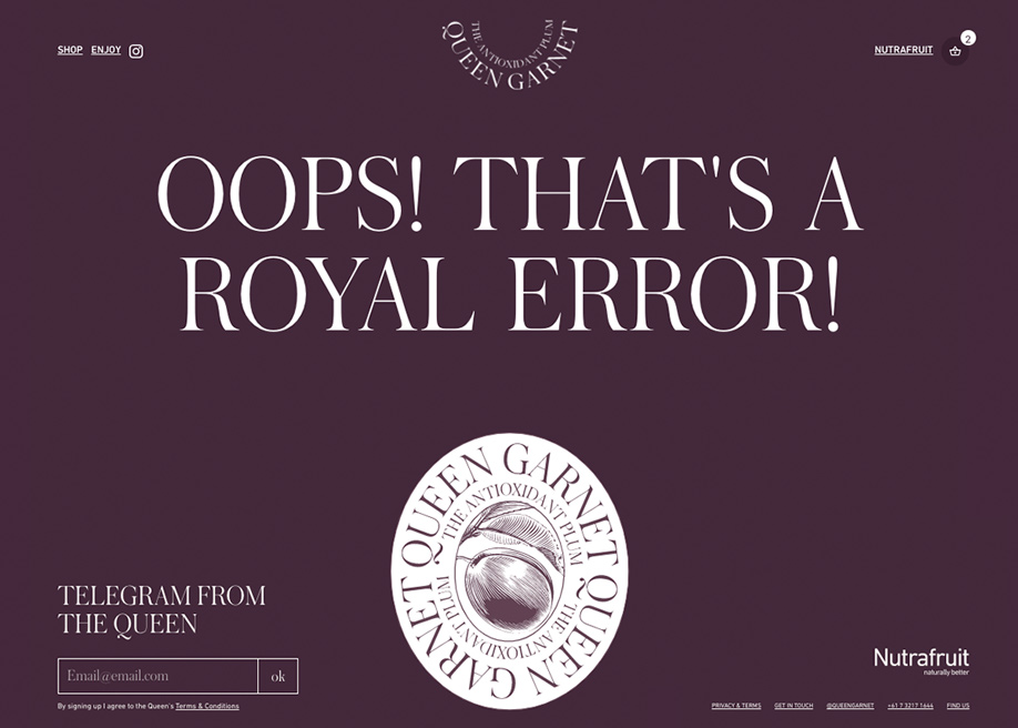 404 error page - Queen Garnet