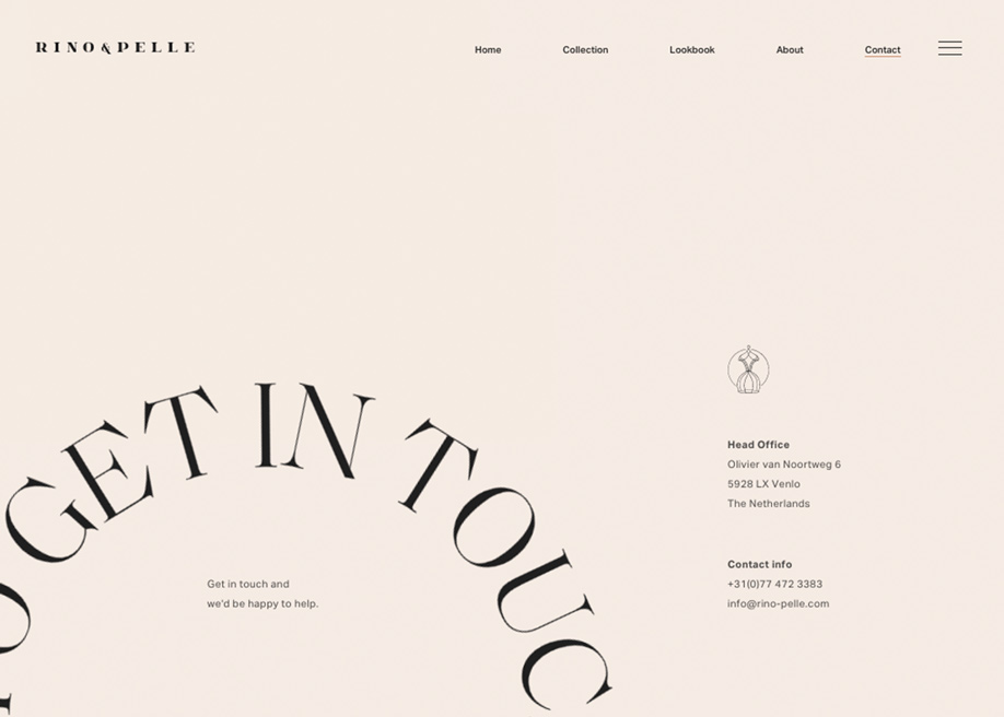 Minimal contact page - Rino & Pelle