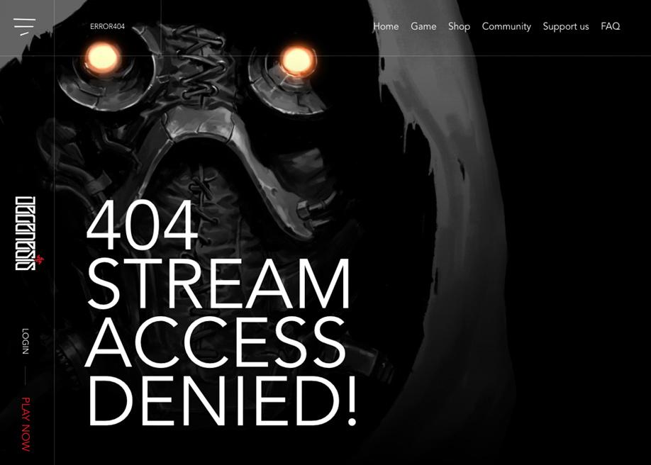 404 error page - Degenesis