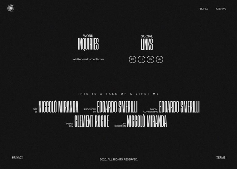 Footer design - Edoardo Smerilli Film Director