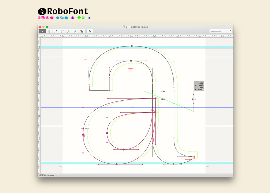 Font editor for drawing typefaces - RoboFont