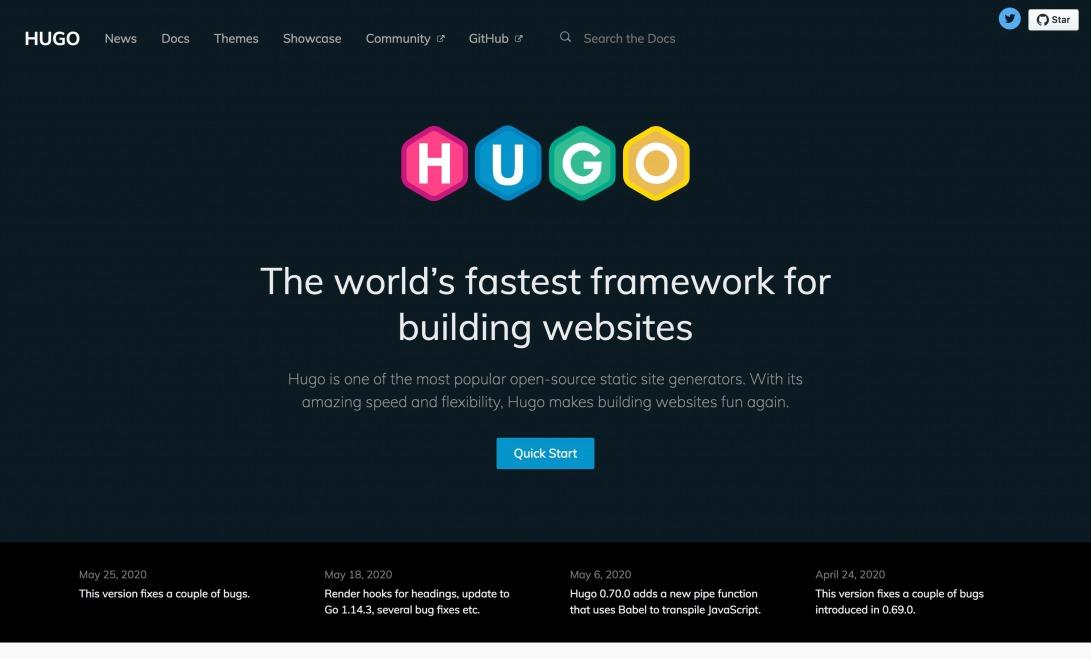 The world's fastest framework for building websites | Hugo
