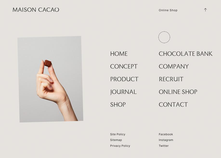 Overlay menu - Maison Cacao