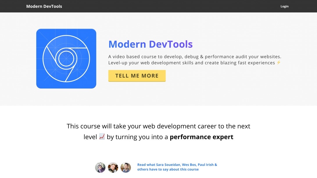 Modern DevTools - A video based web performance course