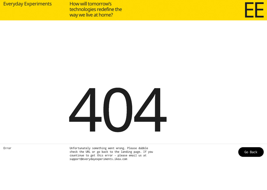 404 error page - Everyday Experiments