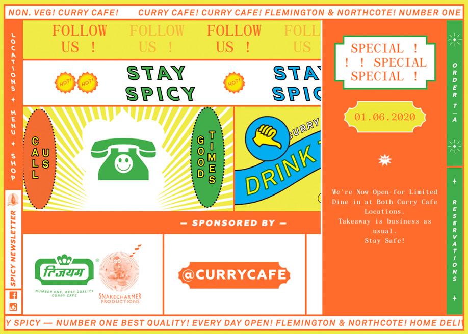 Brutalist footer design - Curry cafe