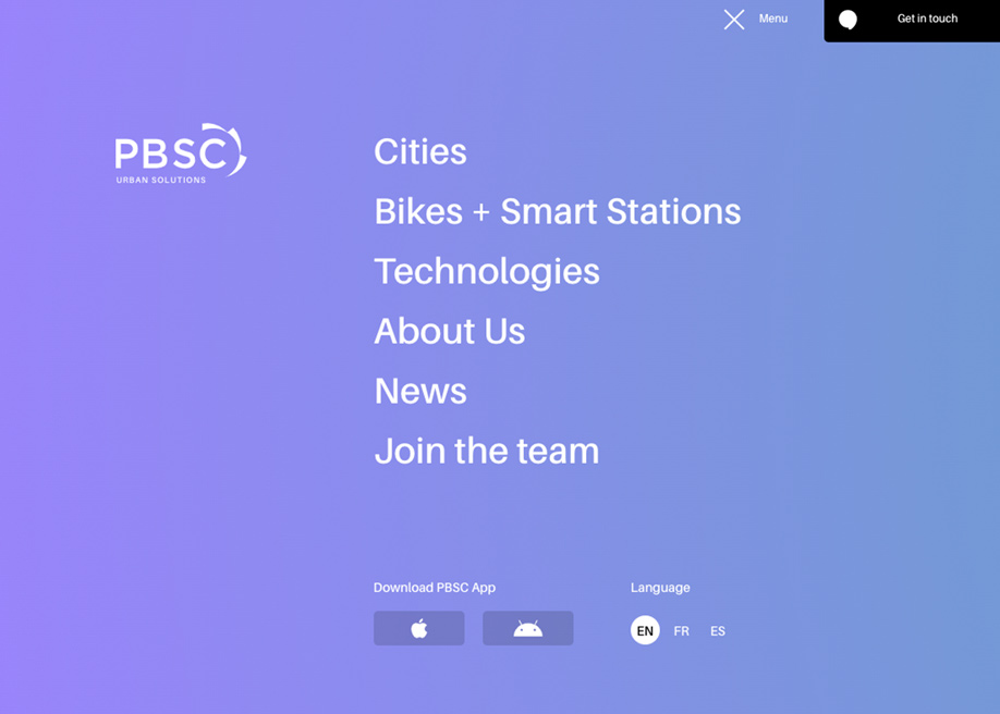 Gradient overlay menu - PBSC