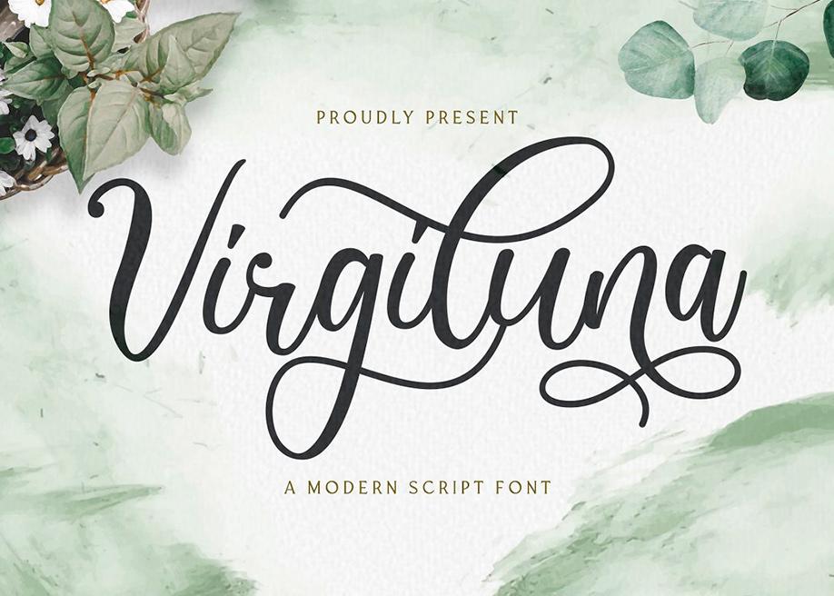 Virgiluna script font