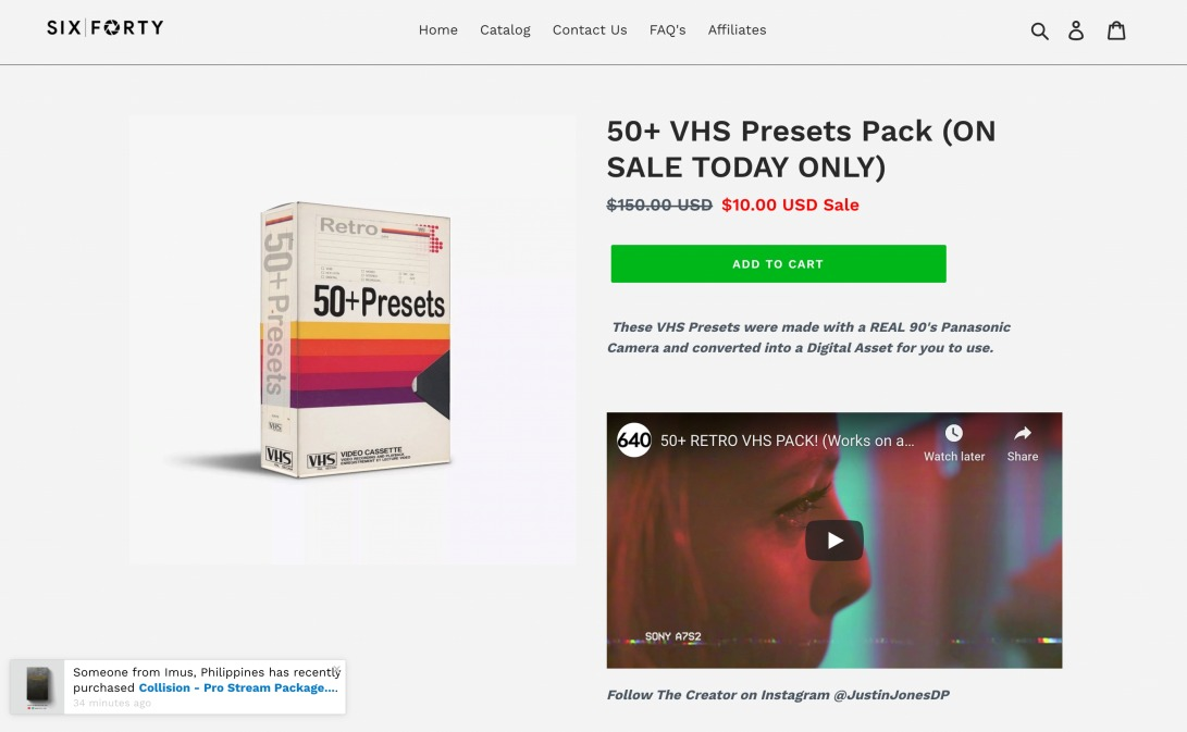 50+ VHS Presets Pack! Sound FX Included – 640 Studio